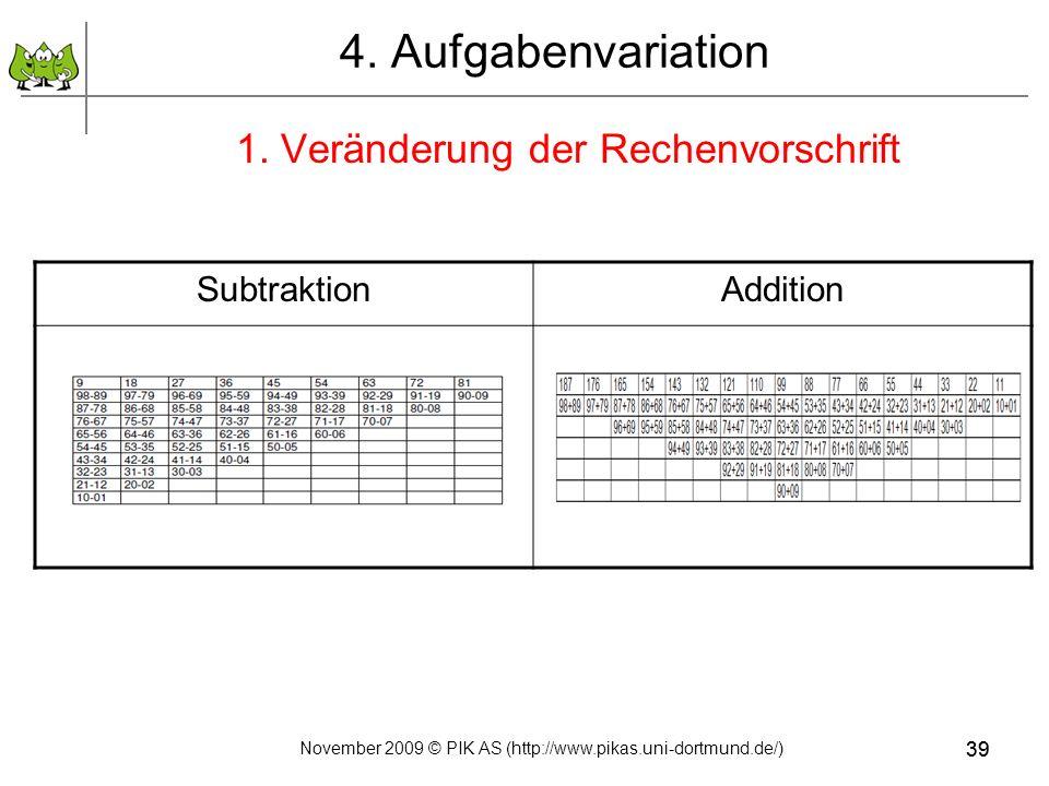 39 4. Aufgabenvariation 1. Veränderung der Rechenvorschrift SubtraktionAddition 39 November 2009 © PIK AS (http://www.pikas.uni-dortmund.de/)