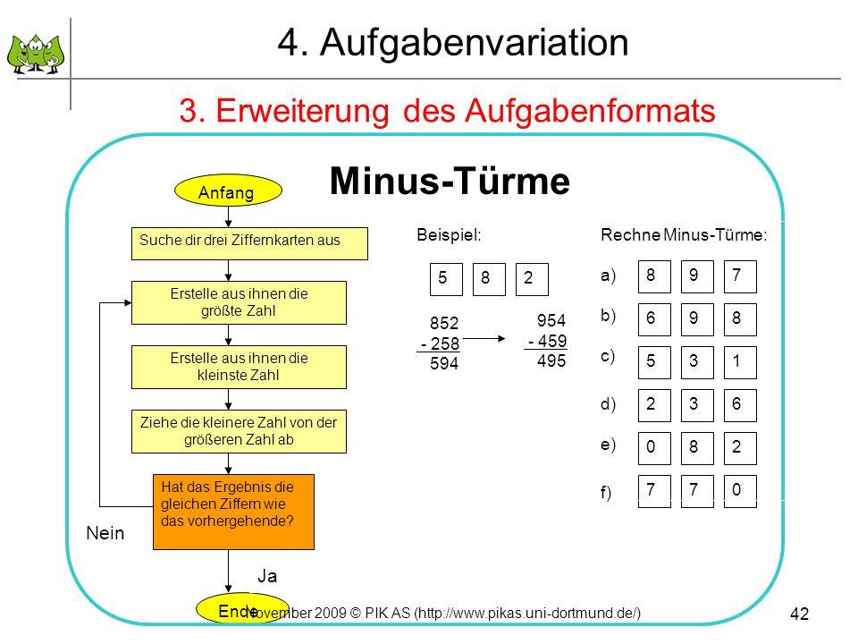 42 4. Aufgabenvariation 3. Erweiterung des Aufgabenformats Anfang Suche dir drei Ziffernkarten aus Erstelle aus ihnen die größte Zahl Erstelle aus ihn