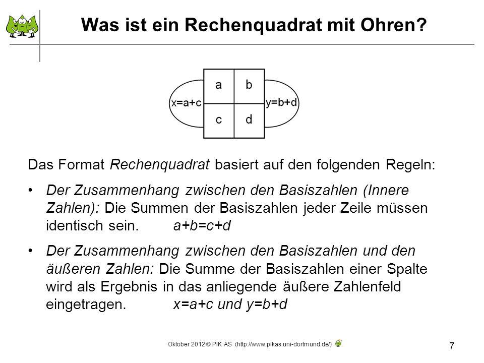 Einige Beispiele zum Warm-Up 8 Erinnerungshilfe: a+b=c+d Oktober 2012 © PIK AS (http://www.pikas.uni-dortmund.de/)