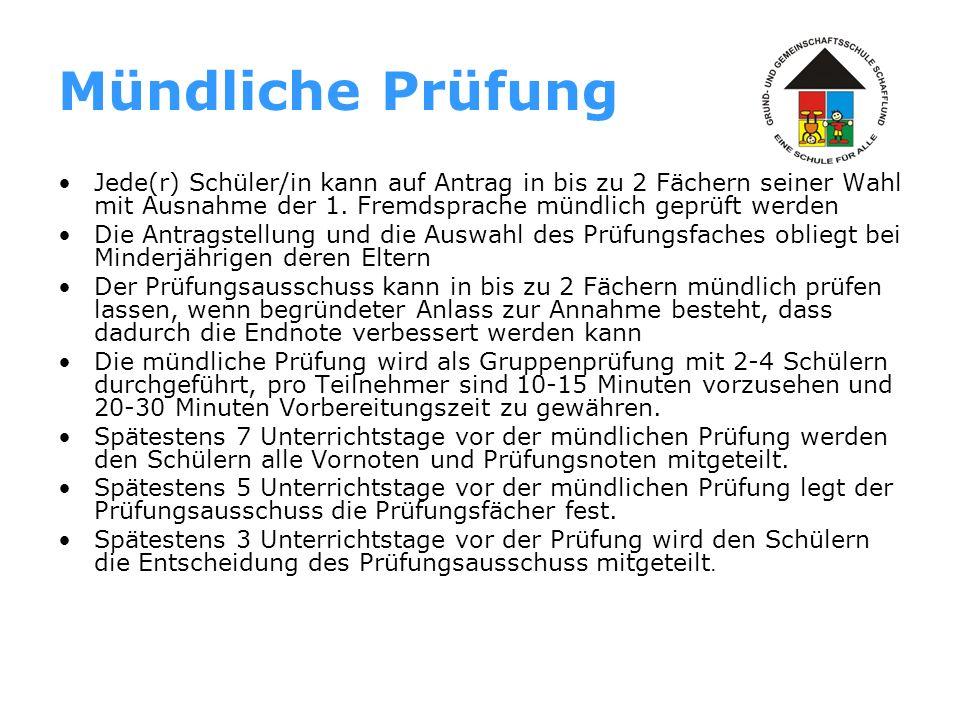 Festlegung der Endnoten und Zuerkennung des Abschlusses In Deutsch oder Mathematik werden ggf.