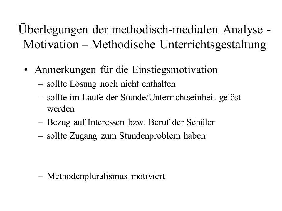 Überlegungen der methodisch-medialen Analyse - Motivation – Methodische Unterrichtsgestaltung Anmerkungen für die Einstiegsmotivation –sollte Lösung n