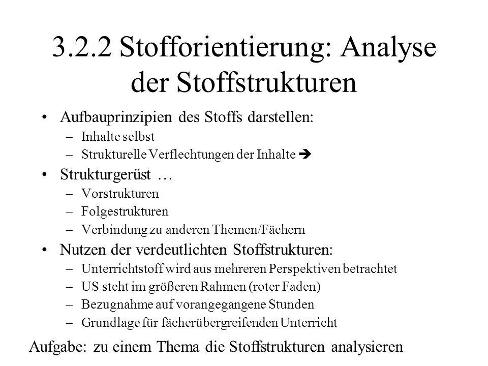 3.2.2 Stofforientierung: Analyse der Stoffstrukturen Aufbauprinzipien des Stoffs darstellen: –Inhalte selbst –Strukturelle Verflechtungen der Inhalte
