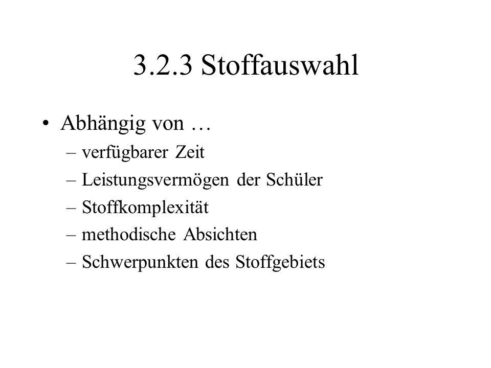 Prinzipien der Stoffauswahl 1.