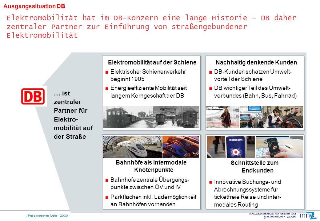 Innovationszentrum für Mobilität und gesellschaftlichen Wandel Personenverkehr 2030 Nachhaltig denkende Kunden DB-Kunden schätzen Umwelt- vorteil der