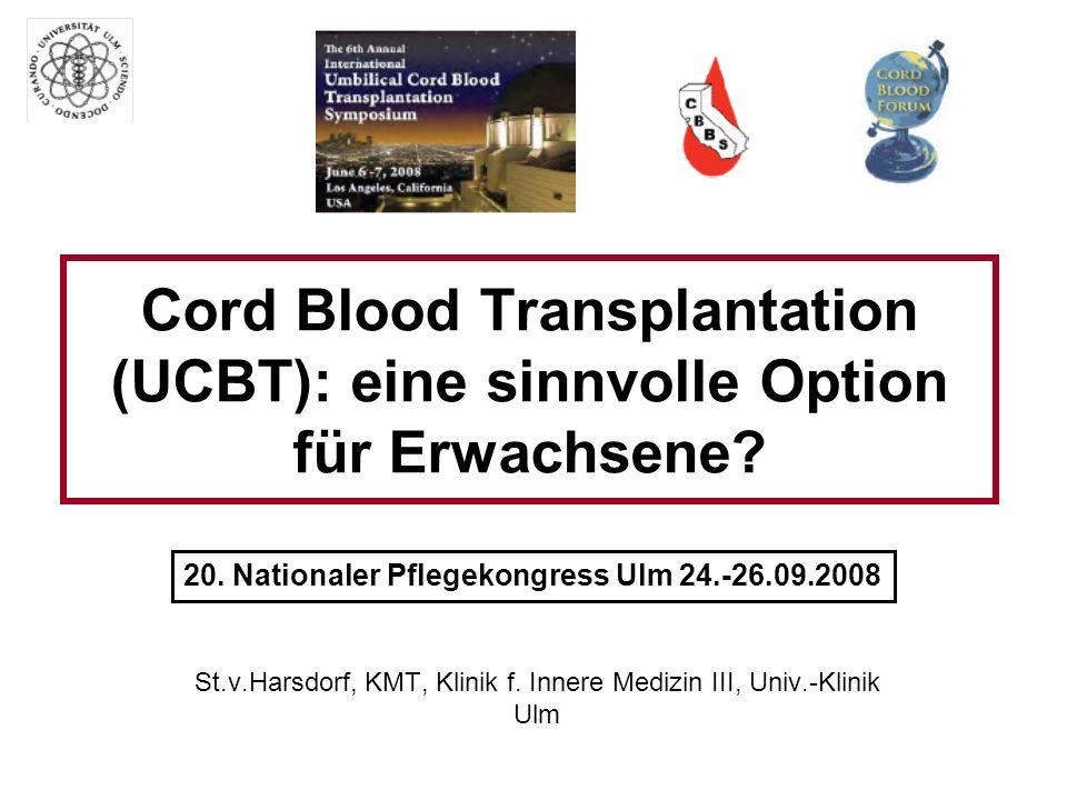 UCBT: Grundlagen In ca.30% HLA-id. Fam.-Spender In ca.