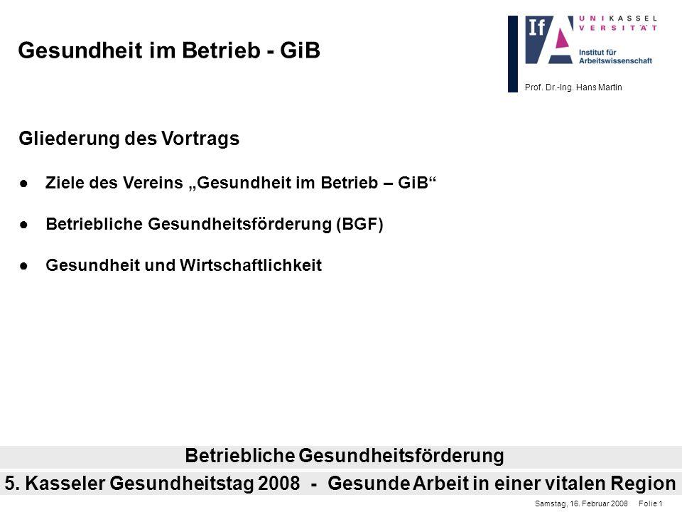 Prof. Dr.-Ing. Hans Martin Gesundheit im Betrieb - GiB Gliederung des Vortrags Ziele des Vereins Gesundheit im Betrieb – GiB Betriebliche Gesundheitsf