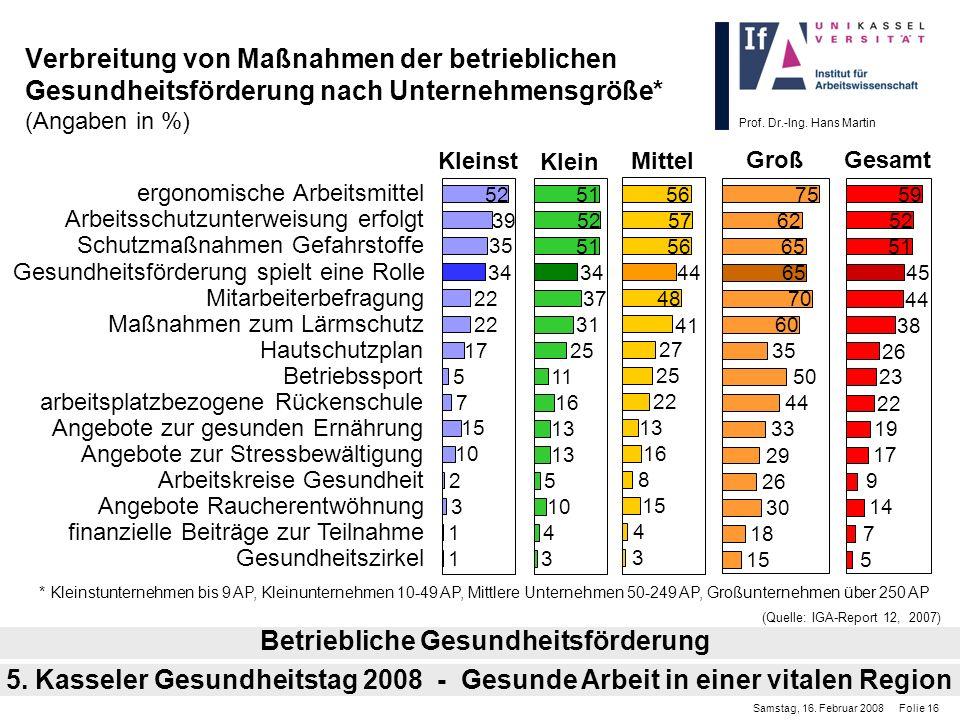 Prof. Dr.-Ing. Hans Martin Verbreitung von Maßnahmen der betrieblichen Gesundheitsförderung nach Unternehmensgröße* (Angaben in %) Betriebliche Gesund