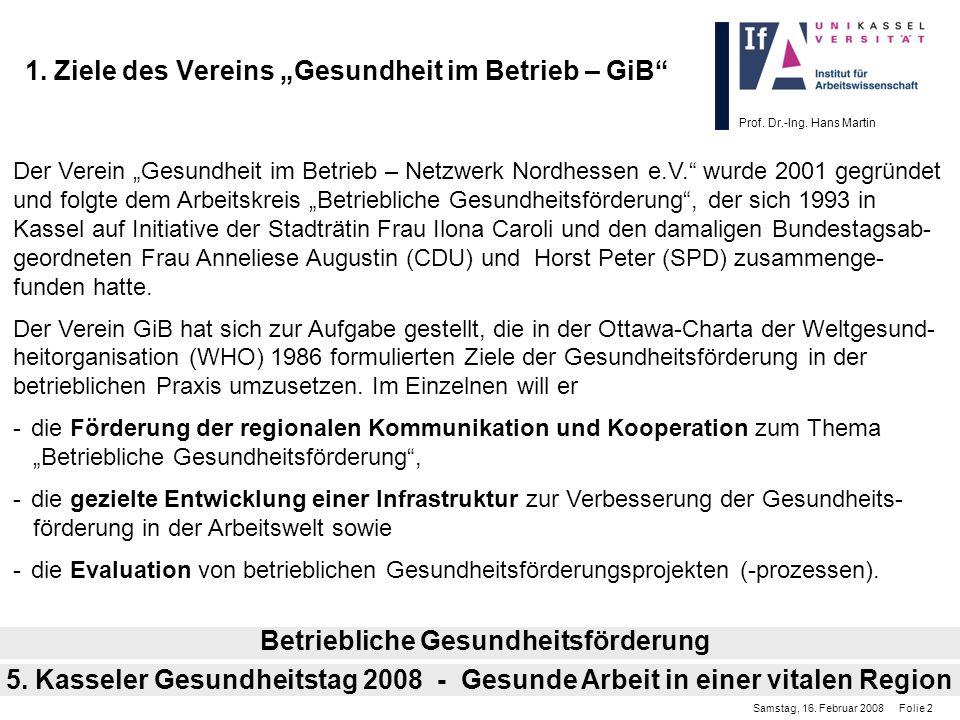 Prof. Dr.-Ing. Hans Martin 1. Ziele des Vereins Gesundheit im Betrieb – GiB 5. Kasseler Gesundheitstag 2008 - Gesunde Arbeit in einer vitalen Region B