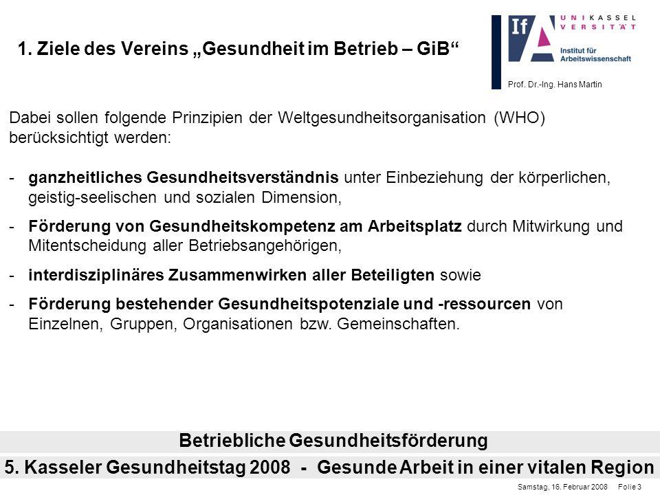 Prof. Dr.-Ing. Hans Martin 1. Ziele des Vereins Gesundheit im Betrieb – GiB Dabei sollen folgende Prinzipien der Weltgesundheitsorganisation (WHO) ber