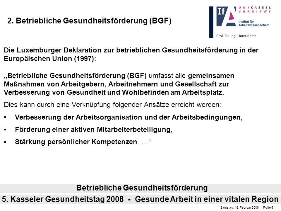 Prof. Dr.-Ing. Hans Martin 2. Betriebliche Gesundheitsförderung (BGF) Die Luxemburger Deklaration zur betrieblichen Gesundheitsförderung in der Europä
