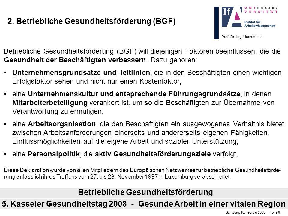 Prof. Dr.-Ing. Hans Martin 2. Betriebliche Gesundheitsförderung (BGF) Betriebliche Gesundheitsförderung (BGF) will diejenigen Faktoren beeinflussen, d