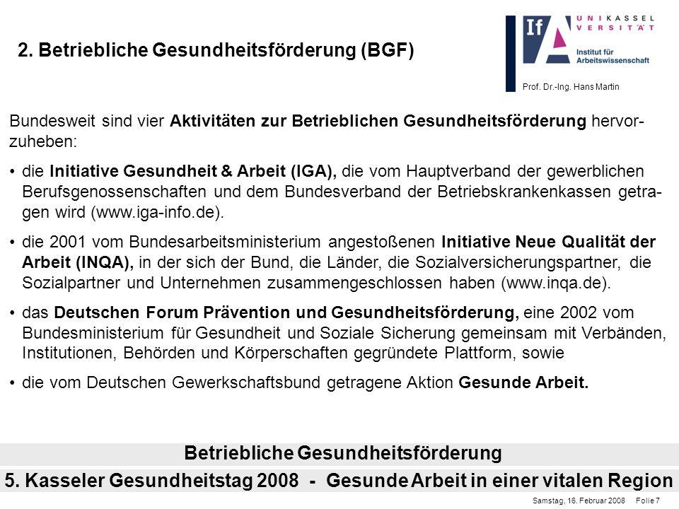 Prof. Dr.-Ing. Hans Martin 2. Betriebliche Gesundheitsförderung (BGF) Bundesweit sind vier Aktivitäten zur Betrieblichen Gesundheitsförderung hervor-