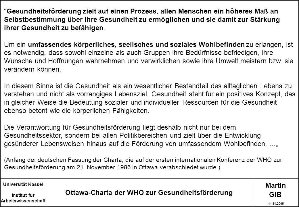 Martin Ottawa-Charta der WHO zur Gesundheitsförderung Universität Kassel Institut für Arbeitswissenschaft