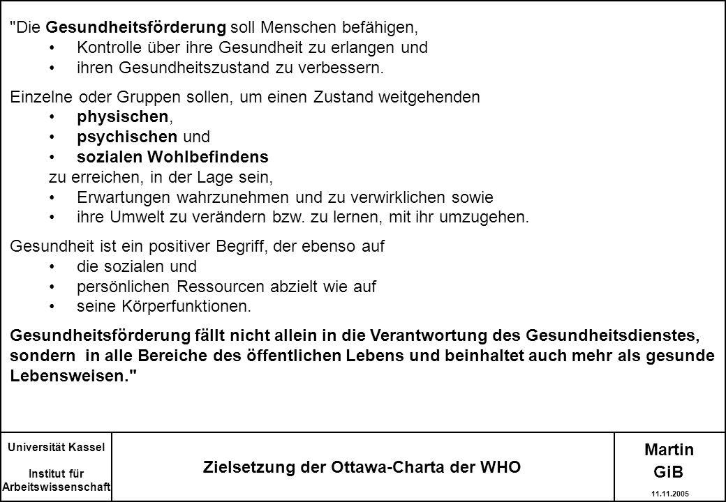 Martin Zielsetzung der Ottawa-Charta der WHO Universität Kassel Institut für Arbeitswissenschaft