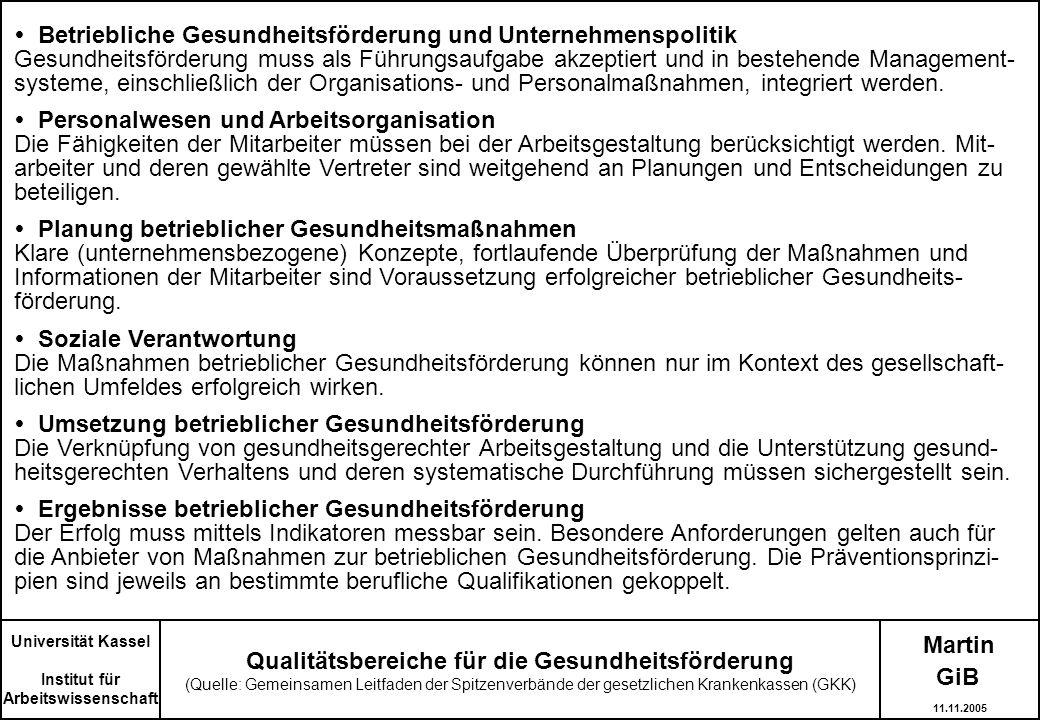 Martin Qualitätsbereiche für die Gesundheitsförderung (Quelle: Gemeinsamen Leitfaden der Spitzenverbände der gesetzlichen Krankenkassen (GKK) Universi