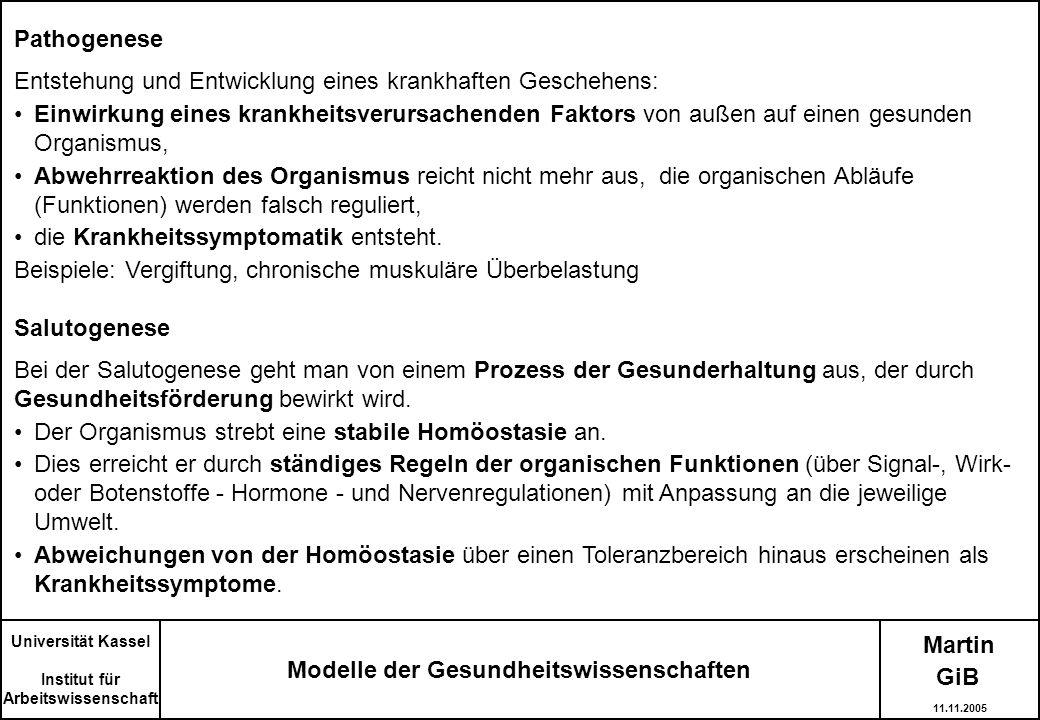 Martin Modelle der Gesundheitswissenschaften Universität Kassel Institut für Arbeitswissenschaft Pathogenese Entstehung und Entwicklung eines krankhaf