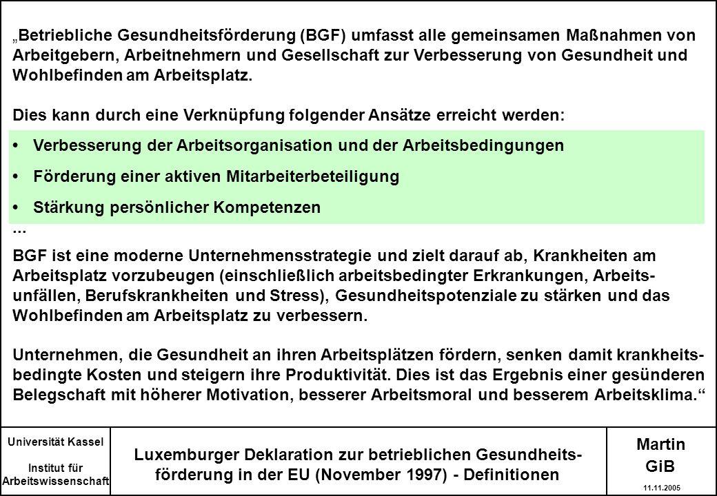 Martin Luxemburger Deklaration zur betrieblichen Gesundheits- förderung in der EU (November 1997) - Definitionen Betriebliche Gesundheitsförderung (BG