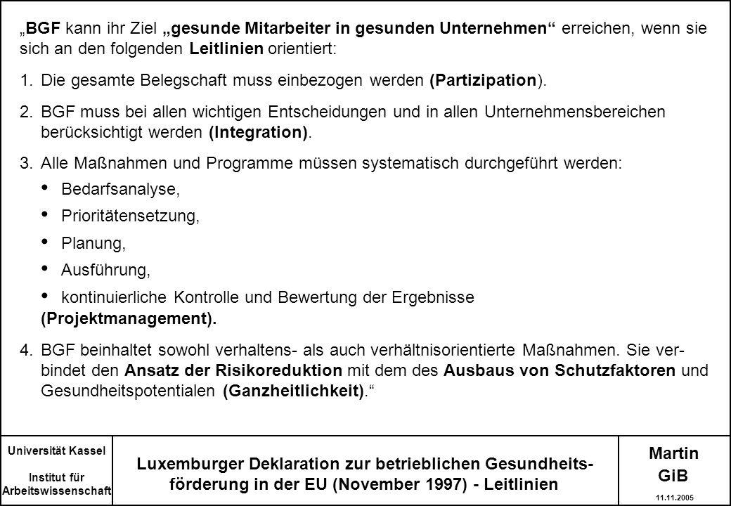 Martin Luxemburger Deklaration zur betrieblichen Gesundheits- förderung in der EU (November 1997) - Leitlinien BGF kann ihr Ziel gesunde Mitarbeiter i