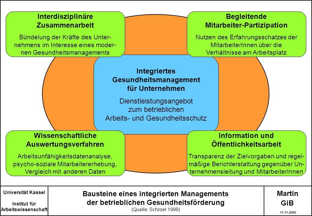 Martin Bausteine eines integrierten Managements der betrieblichen Gesundheitsförderung (Quelle: Schroer 1999) Integriertes Gesundheitsmanagement für U