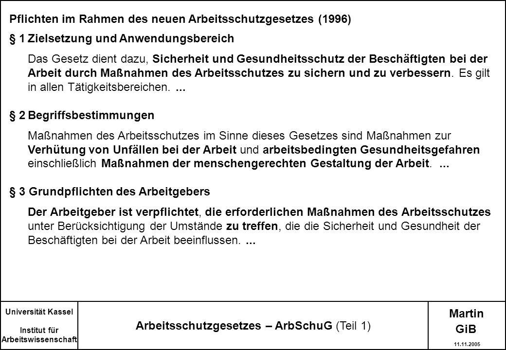 Pflichten im Rahmen des neuen Arbeitsschutzgesetzes (1996) § 1Zielsetzung und Anwendungsbereich Das Gesetz dient dazu, Sicherheit und Gesundheitsschut