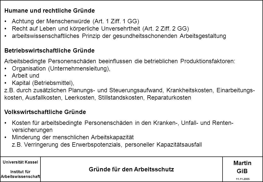 Martin Universität Kassel Institut für Arbeitswissenschaft Gründe für den Arbeitsschutz Humane und rechtliche Gründe Achtung der Menschenwürde (Art. 1