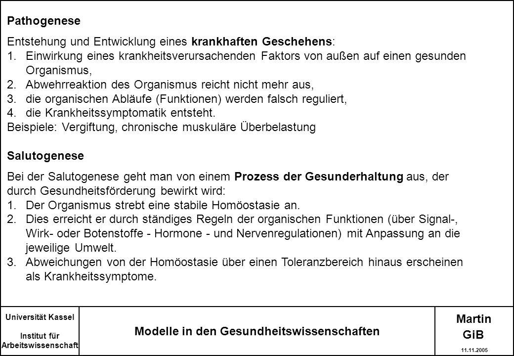 Martin Modelle in den Gesundheitswissenschaften Universität Kassel Institut für Arbeitswissenschaft Pathogenese Entstehung und Entwicklung eines krank