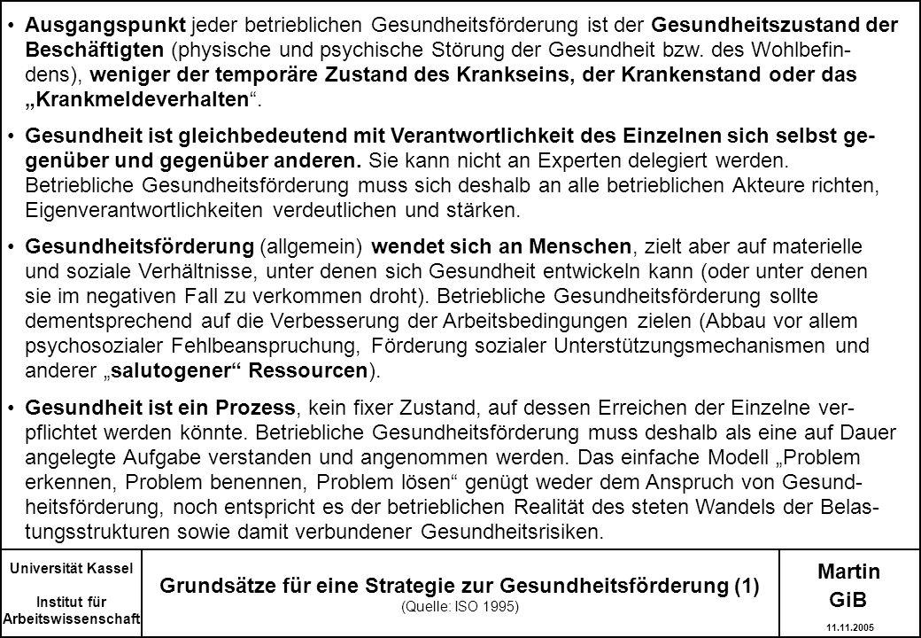 Martin Grundsätze für eine Strategie zur Gesundheitsförderung (1) (Quelle: ISO 1995) Universität Kassel Institut für Arbeitswissenschaft Ausgangspunkt