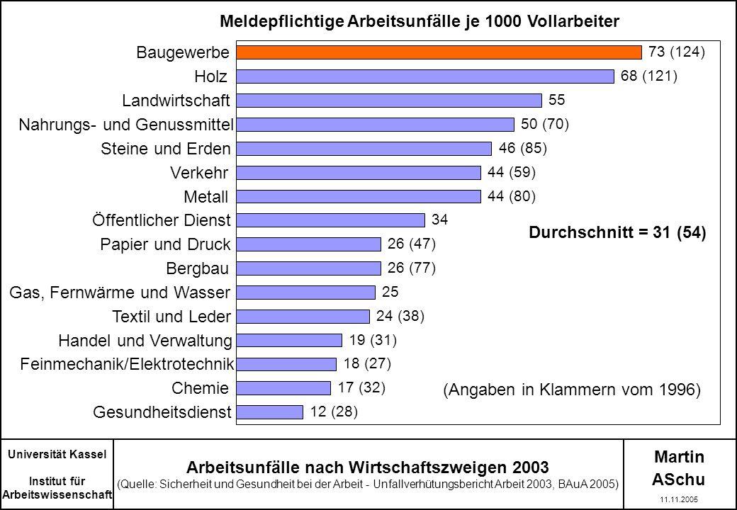 Martin ASchu Universität Kassel Institut für Arbeitswissenschaft 11.11.2005 Arbeitsunfälle nach Wirtschaftszweigen 2003 (Quelle: Sicherheit und Gesund