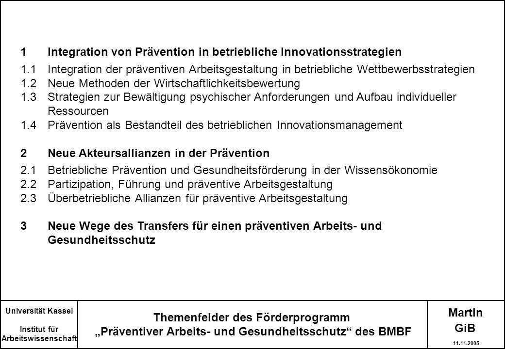 Martin Universität Kassel Institut für Arbeitswissenschaft 1Integration von Prävention in betriebliche Innovationsstrategien 1.1Integration der präven