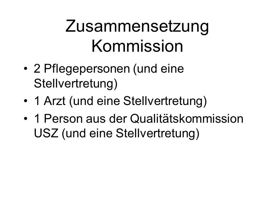 Zusammensetzung Kommission 2 Pflegepersonen (und eine Stellvertretung) 1 Arzt (und eine Stellvertretung) 1 Person aus der Qualitätskommission USZ (und