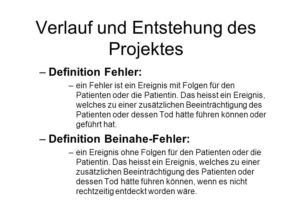Verlauf und Entstehung des Projektes –Definition Fehler: –ein Fehler ist ein Ereignis mit Folgen für den Patienten oder die Patientin. Das heisst ein