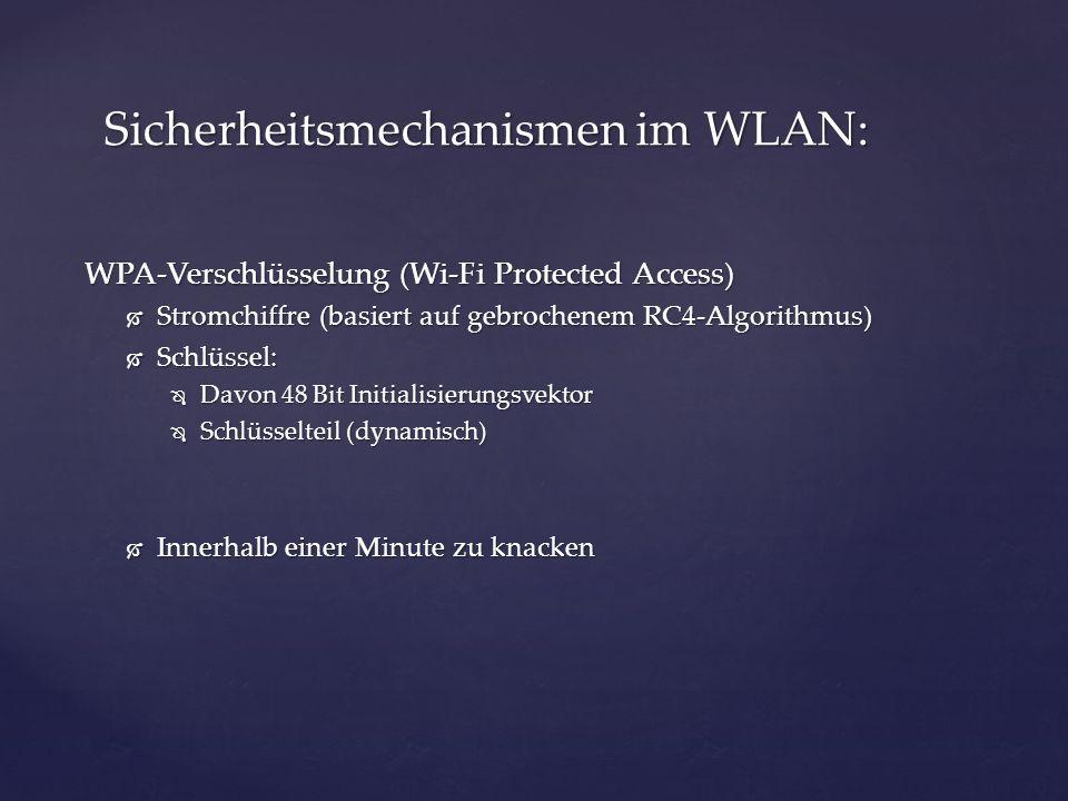 WPA-Verschlüsselung (Wi-Fi Protected Access) Stromchiffre (basiert auf gebrochenem RC4-Algorithmus) Stromchiffre (basiert auf gebrochenem RC4-Algorith