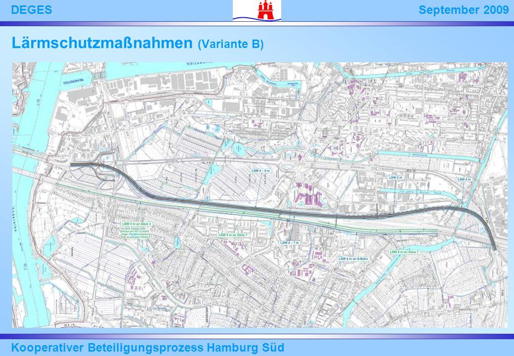 September 2009DEGES Kooperativer Beteiligungsprozess Hamburg Süd Lärmschutzmaßnahmen (Variante B)
