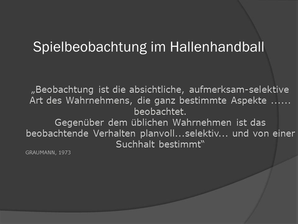 Spielbeobachtung im Hallenhandball Beobachtung ist die absichtliche, aufmerksam-selektive Art des Wahrnehmens, die ganz bestimmte Aspekte...... beobac