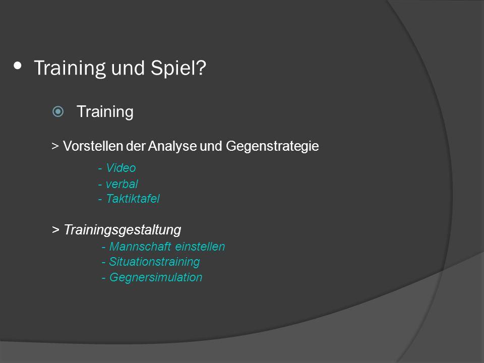 Training und Spiel? Training > Vorstellen der Analyse und Gegenstrategie - Video - verbal - Taktiktafel > Trainingsgestaltung - Mannschaft einstellen