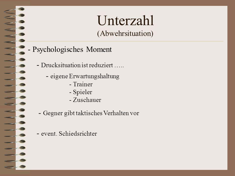 Unterzahl (Abwehrsituation) - eigene Erwartungshaltung - Trainer - Spieler - Zuschauer - Drucksituation ist reduziert ….. - Gegner gibt taktisches Ver