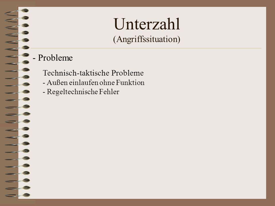 Unterzahl (Angriffssituation) Technisch-taktische Probleme - Außen einlaufen ohne Funktion - Regeltechnische Fehler - Probleme
