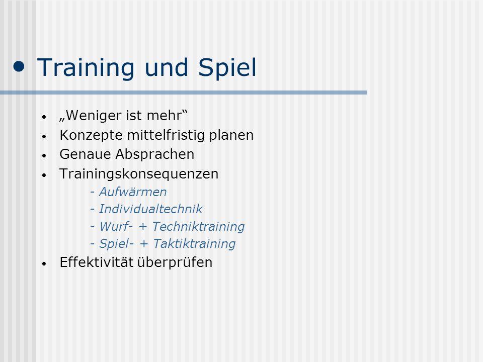 Training und Spiel Weniger ist mehr Konzepte mittelfristig planen Genaue Absprachen Trainingskonsequenzen - Aufwärmen - Individualtechnik - Wurf- + Te