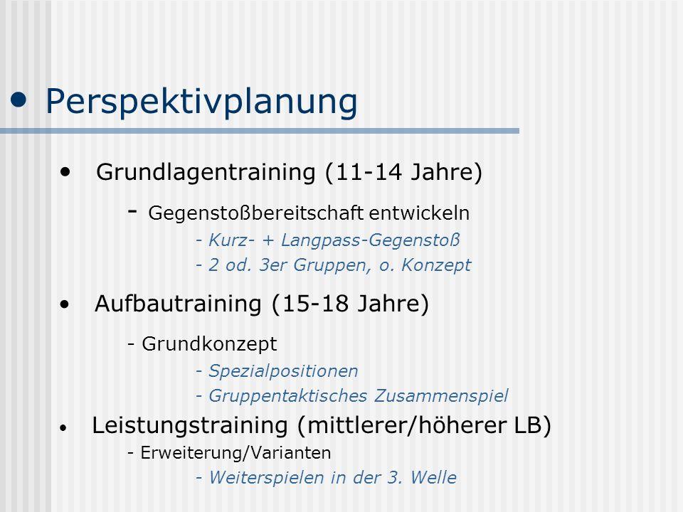 Perspektivplanung Grundlagentraining (11-14 Jahre) - Gegenstoßbereitschaft entwickeln - Kurz- + Langpass-Gegenstoß - 2 od. 3er Gruppen, o. Konzept Auf