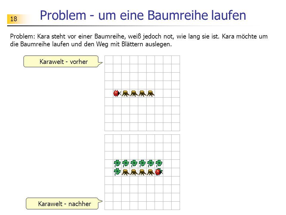 18 Problem - um eine Baumreihe laufen Problem: Kara steht vor einer Baumreihe, weiß jedoch not, wie lang sie ist. Kara möchte um die Baumreihe laufen
