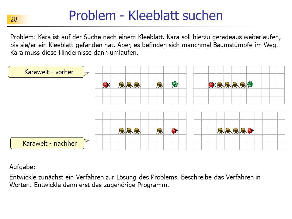 28 Problem - Kleeblatt suchen Problem: Kara ist auf der Suche nach einem Kleeblatt. Kara soll hierzu geradeaus weiterlaufen, bis sie/er ein Kleeblatt
