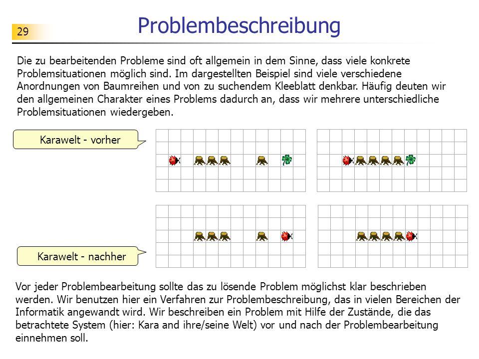 29 Problembeschreibung Die zu bearbeitenden Probleme sind oft allgemein in dem Sinne, dass viele konkrete Problemsituationen möglich sind. Im dargeste