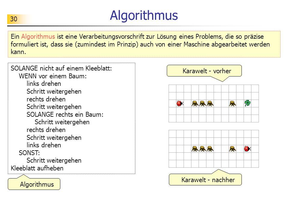 30 Algorithmus Ein Algorithmus ist eine Verarbeitungsvorschrift zur Lösung eines Problems, die so präzise formuliert ist, dass sie (zumindest im Prinz
