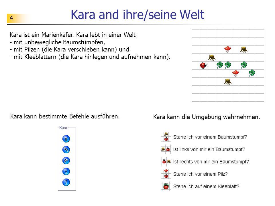 4 Kara and ihre/seine Welt Kara ist ein Marienkäfer. Kara lebt in einer Welt - mit unbewegliche Baumstümpfen, - mit Pilzen (die Kara verschieben kann)