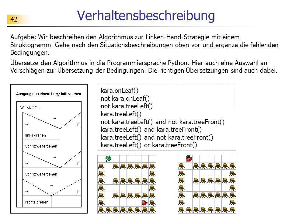 42 Verhaltensbeschreibung Aufgabe: Wir beschreiben den Algorithmus zur Linken-Hand-Strategie mit einem Struktogramm. Gehe nach den Situationsbeschreib