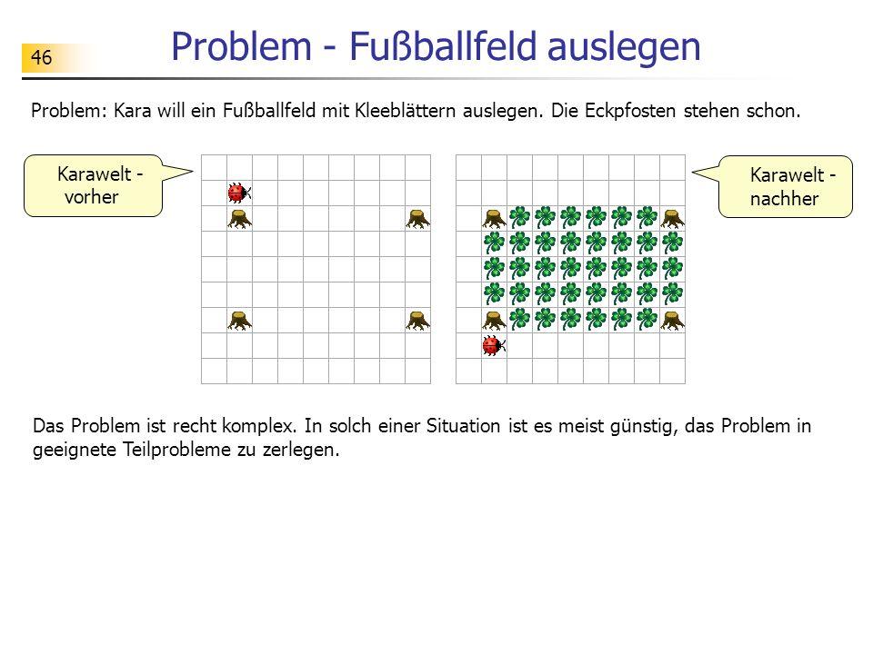 46 Problem - Fußballfeld auslegen Problem: Kara will ein Fußballfeld mit Kleeblättern auslegen. Die Eckpfosten stehen schon. Karawelt - nachher Karawe