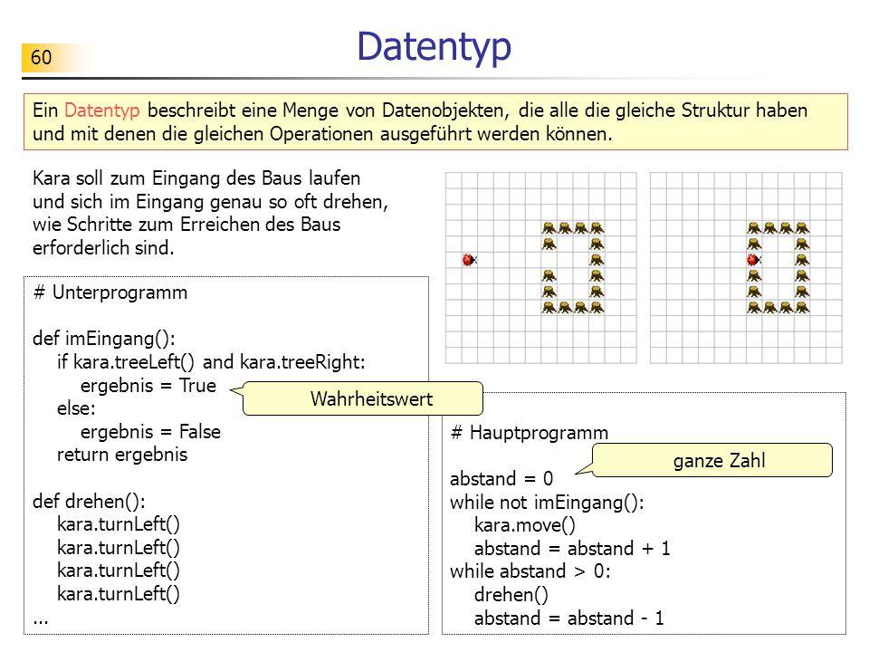 60 Ein Datentyp beschreibt eine Menge von Datenobjekten, die alle die gleiche Struktur haben und mit denen die gleichen Operationen ausgeführt werden
