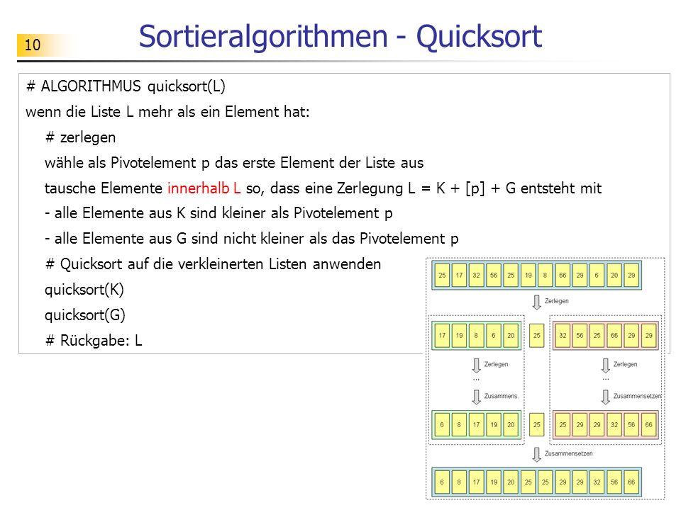 10 # ALGORITHMUS quicksort(L) wenn die Liste L mehr als ein Element hat: # zerlegen wähle als Pivotelement p das erste Element der Liste aus tausche Elemente innerhalb L so, dass eine Zerlegung L = K + [p] + G entsteht mit - alle Elemente aus K sind kleiner als Pivotelement p - alle Elemente aus G sind nicht kleiner als das Pivotelement p # Quicksort auf die verkleinerten Listen anwenden quicksort(K) quicksort(G) # Rückgabe: L Sortieralgorithmen - Quicksort