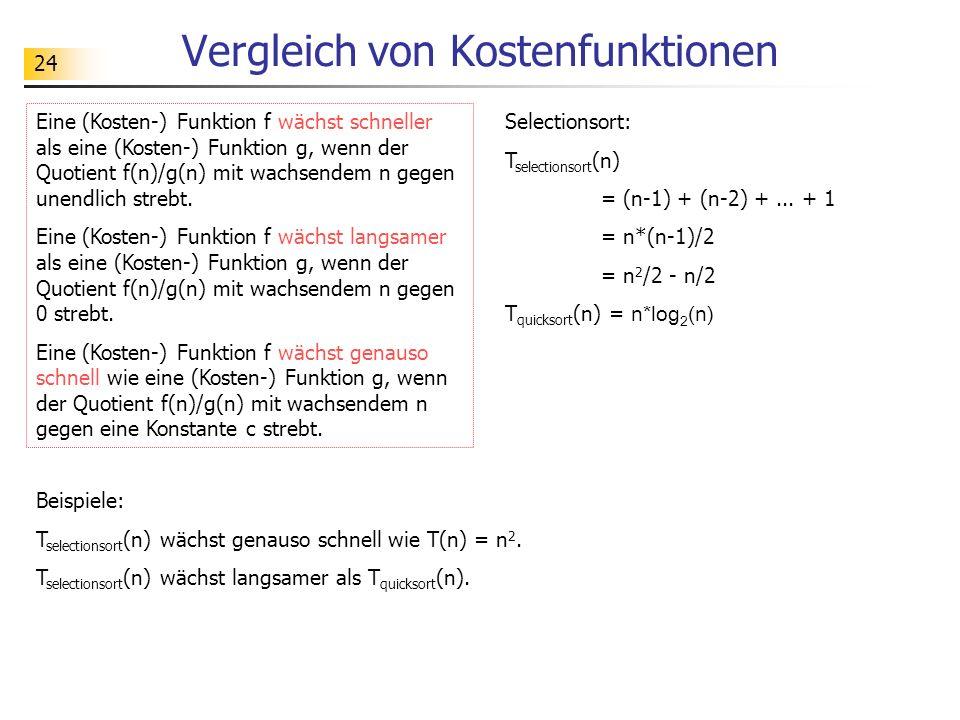 24 Vergleich von Kostenfunktionen Eine (Kosten-) Funktion f wächst schneller als eine (Kosten-) Funktion g, wenn der Quotient f(n)/g(n) mit wachsendem n gegen unendlich strebt.