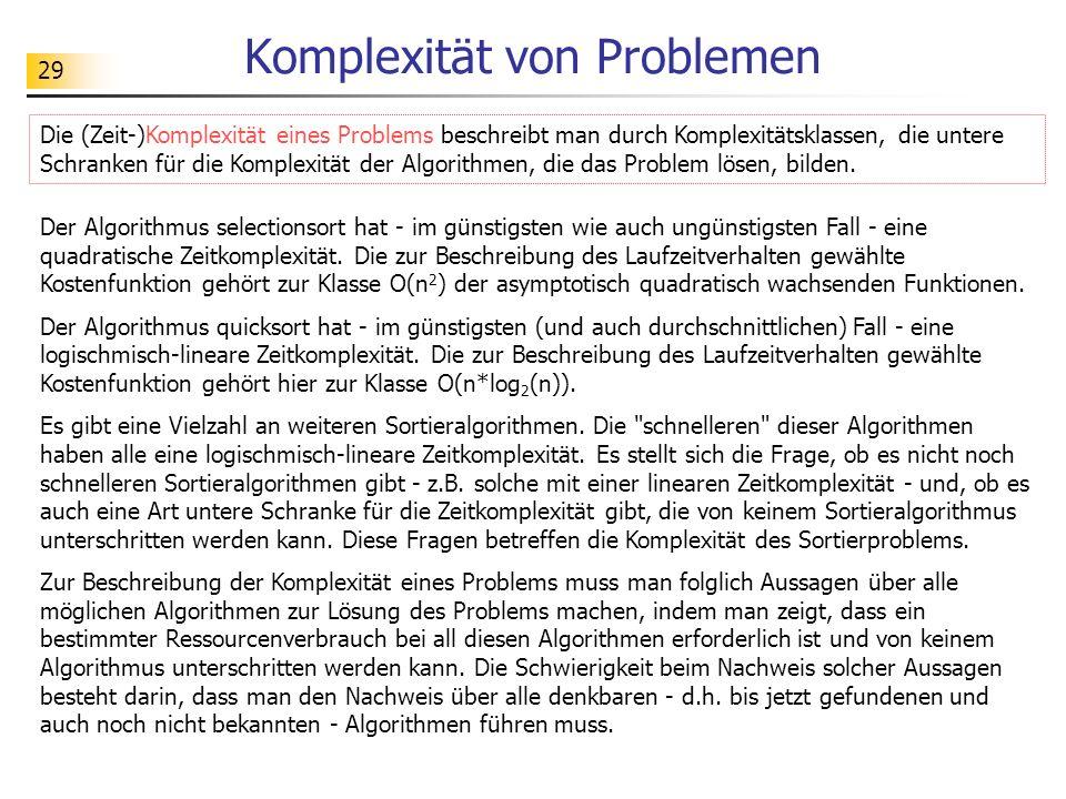29 Komplexität von Problemen Der Algorithmus selectionsort hat - im günstigsten wie auch ungünstigsten Fall - eine quadratische Zeitkomplexität.